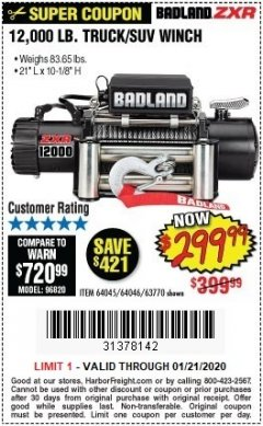 Harbor Freight Coupon BADLAND ZXR12000 12000 LB. OFF-ROAD VEHICLE ELECTRIC WINCH WITH AUTOMATIC LOAD-HOLDING BRAKE Lot No. 64045/64046/63770 Expired: 1/21/20 - $299.99