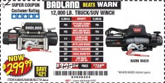 Harbor Freight Coupon BADLAND ZXR12000 12000 LB. OFF-ROAD VEHICLE ELECTRIC WINCH WITH AUTOMATIC LOAD-HOLDING BRAKE Lot No. 64045/64046/63770 Valid Thru: 6/30/20 - $299.99