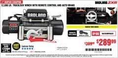 Harbor Freight Coupon BADLAND ZXR12000 12000 LB. OFF-ROAD VEHICLE ELECTRIC WINCH WITH AUTOMATIC LOAD-HOLDING BRAKE Lot No. 64045/64046/63770 Valid Thru: 6/30/20 - $289.99