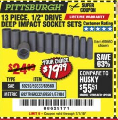 "Harbor Freight Coupon 13 PIECES, 1/2"" DRIVE, 12 POINT DEEP IMPACT SOCKET SETS Lot No. 61902/61903 Expired: 7/1/18 - $19.99"