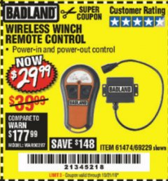 Harbor Freight Coupon WIRELESS WINCH REMOTE CONTROL Lot No. 69229/61474 Expired: 10/21/19 - $29.99