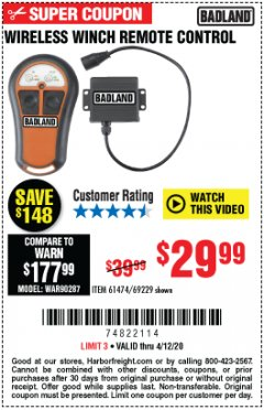Harbor Freight Coupon WIRELESS WINCH REMOTE CONTROL Lot No. 69229/61474 Expired: 6/30/20 - $29.99