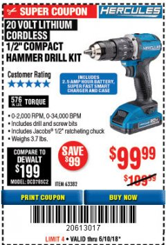 "Harbor Freight Coupon HERCULES 1/2"" COMPACT HAMMER DRILL/DRIVER KIT Lot No. 63382 Expired: 6/10/18 - $99.99"