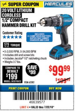 "Harbor Freight Coupon HERCULES 1/2"" COMPACT HAMMER DRILL/DRIVER KIT Lot No. 63382 Expired: 7/22/18 - $99.99"
