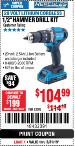 "Harbor Freight Coupon HERCULES 1/2"" COMPACT HAMMER DRILL/DRIVER KIT Lot No. 63382 Expired: 3/31/19 - $104.99"
