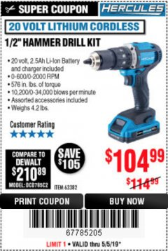 "Harbor Freight Coupon HERCULES 1/2"" COMPACT HAMMER DRILL/DRIVER KIT Lot No. 63382 Expired: 5/5/19 - $104.99"