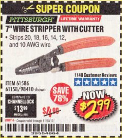Harbor Freight Coupon 7 IN. WIRE STRIPPER WITH CUTTER Lot No. 61586 Expired: 11/30/19 - $2.99
