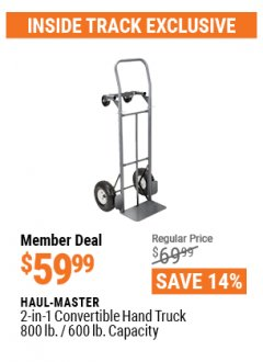 Harbor Freight ITC Coupon $10 OFF ANY HAND TRUCK Lot No. 62406/62180/62199/95909/62775/62973/62776/95061/62974/62900/97528/62550/62551/62369/60520/62467/65685 Expired: 4/29/21 - $59.99