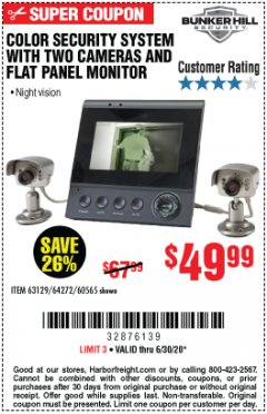 Harbor Freight Coupon COLOR SECURITY SYSTEM WITH 2 CAMERAS AND FLAT PANEL MONITOR Lot No. 62284/63129/60565 EXPIRES: 6/30/20 - $49.99