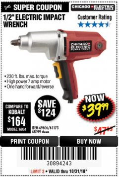 "Harbor Freight Coupon 1/2"" ELECTRIC IMPACT WRENCH Lot No. 69606/61173/68099 Expired: 10/31/18 - $39.99"