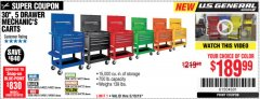 "Harbor Freight Coupon 30"", 5 DRAWER MECHANIC'S CARTS (RED, BLUE & BLACK) Lot No. 64031/64033/64032/64030/61427/64059/64060/64061/63308/95272 Expired: 5/19/19 - $189.99"