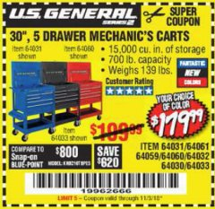 "Harbor Freight Coupon 30"", 5 DRAWER MECHANIC'S CARTS (RED, BLUE & BLACK) Lot No. 64031/64033/64032/64030/61427/64059/64060/64061/63308/95272 Expired: 11/3/18 - $179.99"