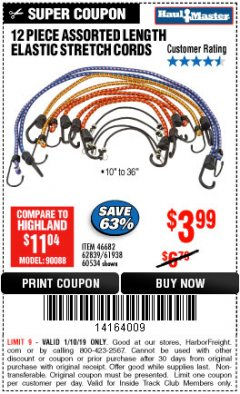 Harbor Freight ITC Coupon 12 PIECE ASSORTED LENGTH ELASTIC STRETCH CORDS Lot No. 46682/61938/62839/56890/60534 Expired: 1/10/19 - $3.99