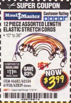Harbor Freight Coupon 12 PIECE ASSORTED LENGTH ELASTIC STRETCH CORDS Lot No. 46682/61938/62839/56890/60534 Expired: 11/30/18 - $3.99