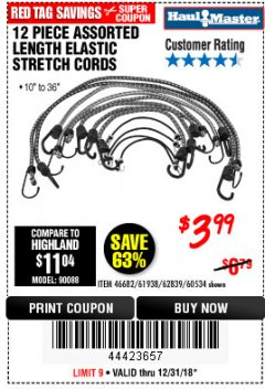 Harbor Freight Coupon 12 PIECE ASSORTED LENGTH ELASTIC STRETCH CORDS Lot No. 46682/61938/62839/56890/60534 Expired: 12/31/18 - $3.99