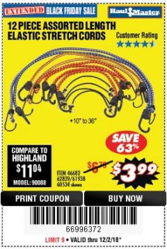 Harbor Freight Coupon 12 PIECE ASSORTED LENGTH ELASTIC STRETCH CORDS Lot No. 46682/61938/62839/56890/60534 Expired: 12/2/18 - $3.99