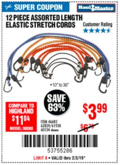 Harbor Freight Coupon 12 PIECE ASSORTED LENGTH ELASTIC STRETCH CORDS Lot No. 46682/61938/62839/56890/60534 Expired: 2/3/19 - $3.99