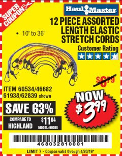 Harbor Freight Coupon 12 PIECE ASSORTED LENGTH ELASTIC STRETCH CORDS Lot No. 46682/61938/62839/56890/60534 Expired: 4/20/19 - $3.99