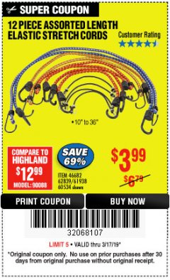 Harbor Freight Coupon 12 PIECE ASSORTED LENGTH ELASTIC STRETCH CORDS Lot No. 46682/61938/62839/56890/60534 Expired: 3/17/19 - $3.99