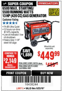 Harbor Freight Coupon 6500 MAX. STARTING/5500 RUNNING WATTS 13 HP GAS GENERATOR Lot No. 63082/68526/63081/63084/68529/63083 Expired: 9/23/18 - $449.99