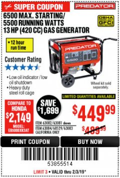 Harbor Freight Coupon 6500 MAX. STARTING/5500 RUNNING WATTS 13 HP GAS GENERATOR Lot No. 63082/68526/63081/63084/68529/63083 Expired: 2/3/19 - $449.99