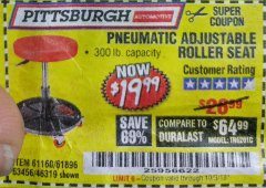 Harbor Freight Coupon PNEUMATIC ADJUSTABLE ROLLER SEAT Lot No. 61160/61896/63456/46319 Expired: 10/3/18 - $19.99