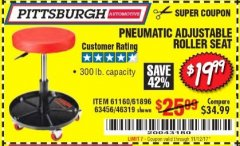 Harbor Freight Coupon PNEUMATIC ADJUSTABLE ROLLER SEAT Lot No. 61160/61896/63456/46319 Expired: 11/12/17 - $19.99