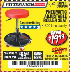 Harbor Freight Coupon PNEUMATIC ADJUSTABLE ROLLER SEAT Lot No. 61160/61896/63456/46319 Expired: 10/1/18 - $19.99