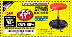 Harbor Freight Coupon PNEUMATIC ADJUSTABLE ROLLER SEAT Lot No. 61160/61896/63456/46319 Expired: 8/18/18 - $19.99