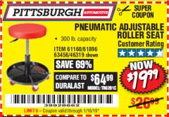 Harbor Freight Coupon PNEUMATIC ADJUSTABLE ROLLER SEAT Lot No. 61160/61896/63456/46319 Expired: 1/16/19 - $19.99