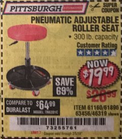 Harbor Freight Coupon PNEUMATIC ADJUSTABLE ROLLER SEAT Lot No. 61160/61896/63456/46319 Expired: 2/5/19 - $19.99