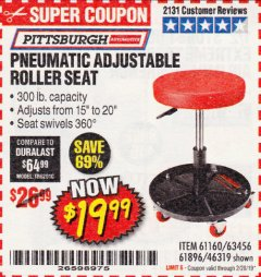 Harbor Freight Coupon PNEUMATIC ADJUSTABLE ROLLER SEAT Lot No. 61160/61896/63456/46319 Expired: 2/28/19 - $19.99