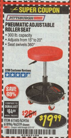 Harbor Freight Coupon PNEUMATIC ADJUSTABLE ROLLER SEAT Lot No. 61160/61896/63456/46319 Expired: 3/31/19 - $19.99