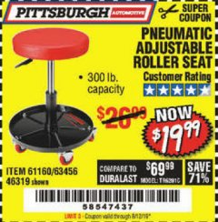 Harbor Freight Coupon PNEUMATIC ADJUSTABLE ROLLER SEAT Lot No. 61160/61896/63456/46319 Expired: 8/12/19 - $19.99