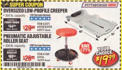 Harbor Freight Coupon PNEUMATIC ADJUSTABLE ROLLER SEAT Lot No. 61160/61896/63456/46319 Expired: 11/30/19 - $19.99