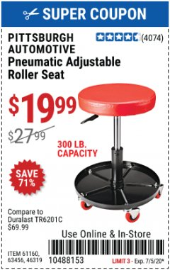 Harbor Freight Coupon PNEUMATIC ADJUSTABLE ROLLER SEAT Lot No. 61160/63456/46319 EXPIRES: 7/5/20 - $19.99