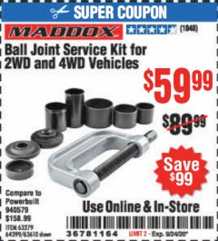 Harbor Freight Coupon BALL JOINT SERVICE KIT FOR 2WD AND 4WD VEHICLES Lot No. 64399/63279/63258/63610 Expired: 9/24/20 - $59.99