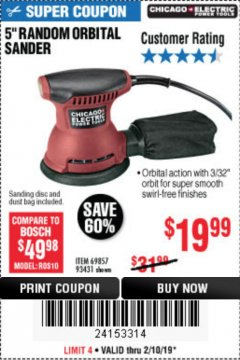 "Harbor Freight Coupon 5"" RANDOM ORBITAL PALM SANDER Lot No. 69857/62216/93431 Expired: 2/10/19 - $19.99"