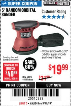 "Harbor Freight Coupon 5"" RANDOM ORBITAL PALM SANDER Lot No. 69857/62216/93431 Expired: 3/17/19 - $19.99"
