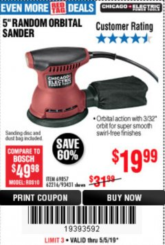 "Harbor Freight Coupon 5"" RANDOM ORBITAL PALM SANDER Lot No. 69857/62216/93431 Expired: 5/5/19 - $19.99"