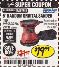 "Harbor Freight Coupon 5"" RANDOM ORBITAL PALM SANDER Lot No. 69857/62216/93431 Expired: 6/30/19 - $19.99"