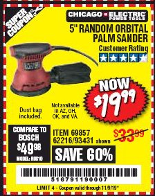 "Harbor Freight Coupon 5"" RANDOM ORBITAL PALM SANDER Lot No. 69857/62216/93431 Expired: 11/9/19 - $19.99"