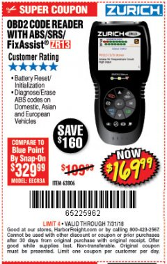 Harbor Freight Coupon ZURICH OBD2 SCANNER WITH ABS ZR13 Lot No. 63806 Expired: 7/31/18 - $169.99