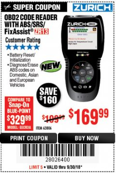 Harbor Freight Coupon ZURICH OBD2 SCANNER WITH ABS ZR13 Lot No. 63806 Expired: 9/30/18 - $169.99