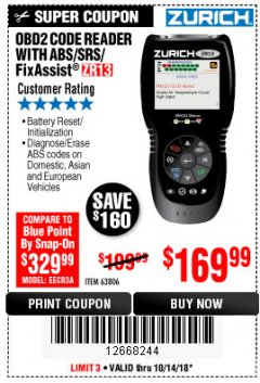 Harbor Freight Coupon ZURICH OBD2 SCANNER WITH ABS ZR13 Lot No. 63806 Expired: 10/14/18 - $169.99