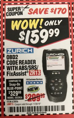 Harbor Freight Coupon ZURICH OBD2 SCANNER WITH ABS ZR13 Lot No. 63806 Expired: 11/30/18 - $159.99