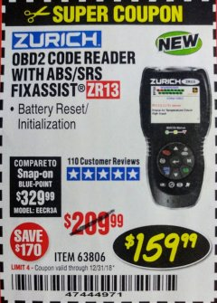 Harbor Freight Coupon ZURICH OBD2 SCANNER WITH ABS ZR13 Lot No. 63806 Expired: 12/31/18 - $159.99