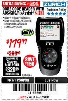 Harbor Freight Coupon ZURICH OBD2 SCANNER WITH ABS ZR13 Lot No. 63806 Expired: 12/31/18 - $179.99