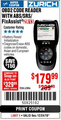 Harbor Freight Coupon ZURICH OBD2 SCANNER WITH ABS ZR13 Lot No. 63806 Expired: 12/24/18 - $179.99
