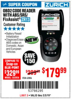 Harbor Freight Coupon ZURICH OBD2 SCANNER WITH ABS ZR13 Lot No. 63806 Expired: 2/3/19 - $179.99